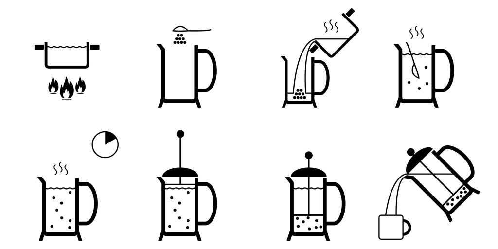 illustration of french coffee press